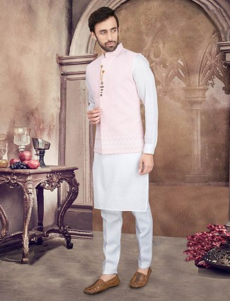 Pink and white cotton silk party wear waistcoat set