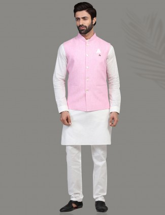 Pink and white linen waistcoat set