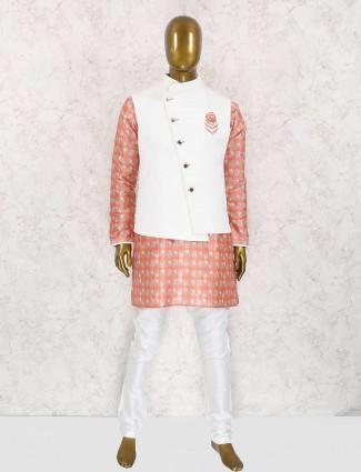 Pink and white raw silk waistcoat set