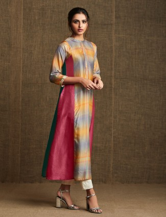 Pink and yellow cotton kurti in printed style for festive
