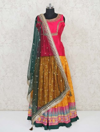 Pink and yellow designer pepulm top lehenga style salwar suit