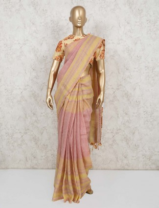 Pink and yellow stripes saree for party with readymade blouse in cotton linen