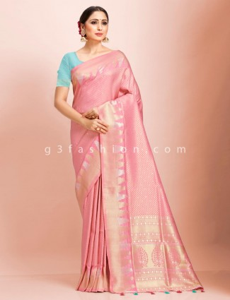 Pink art kanjivaram silk wedding saree