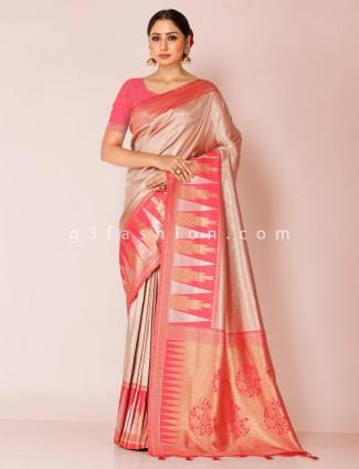 Pink art kanjivaram silk zari saree