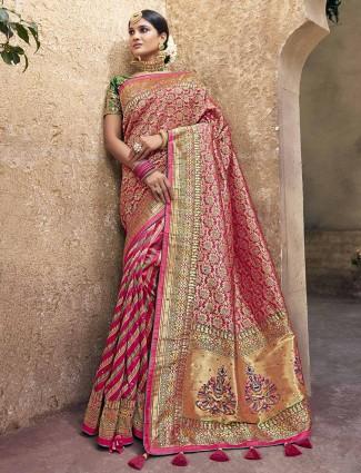 Pink banarasi silk classic saree