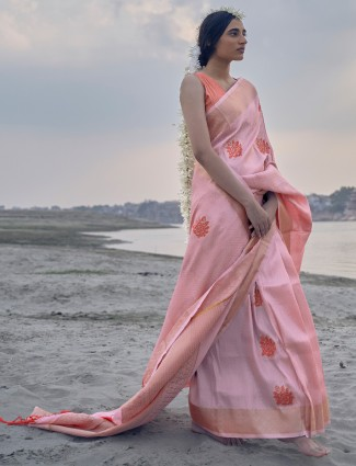 Pink banarasi silk saree for the festivities