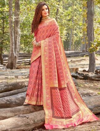 Pink banarasi silk saree for wedding days