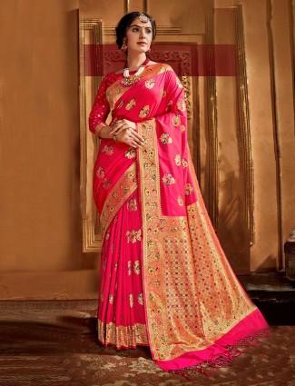 Pink banarasi silk saree for wedding season
