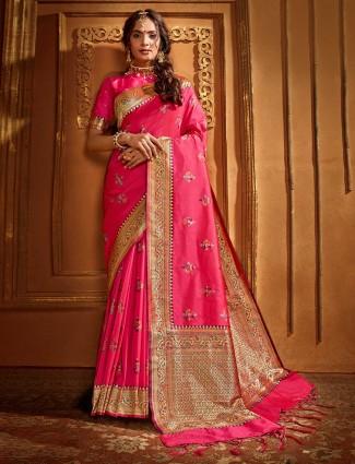 Pink banarasi silk weaving saree