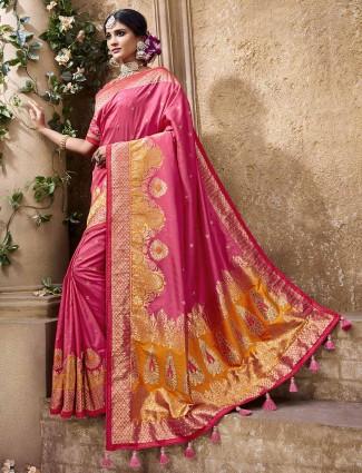 Pink banarasi silk wedding saree