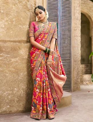 Pink banarasi wedding saree