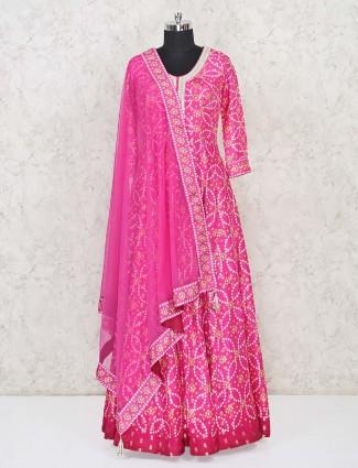 Pink bandhej floor length Anarkali salwar suit for festivals