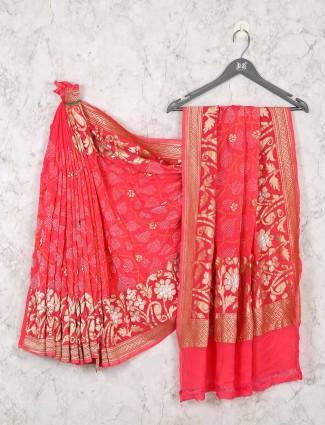 Pink bandhej zari weaving saree