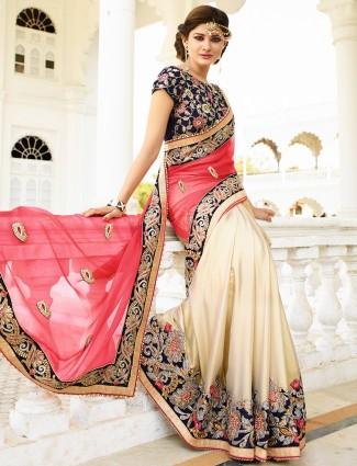 Pink beige chiffon designer saree