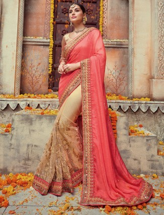 Pink beige silk net designer saree