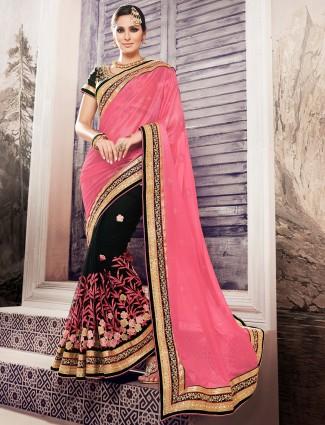 Pink black georgette half and half saree