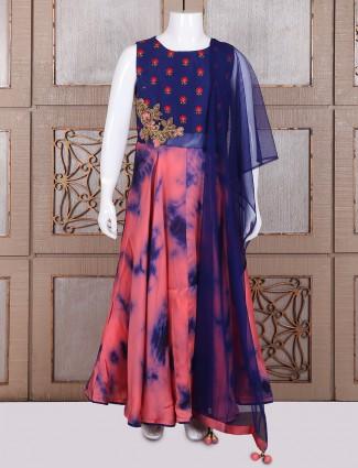 Pink blue satin silk saree