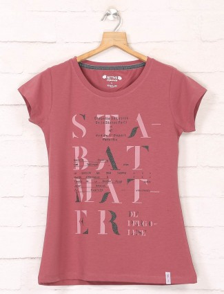 Pink casual wear cotton tshirt