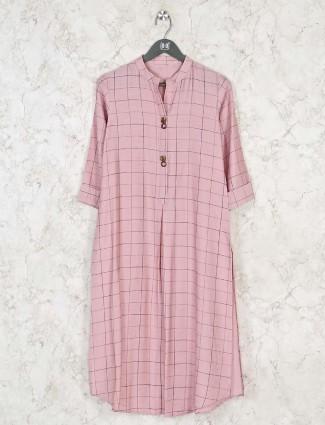 Pink checks cotton kurti for festivals