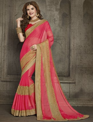 Pink chiffon wedding saree