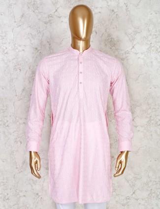 Pink chikan thread work short pathani kurta in cotton