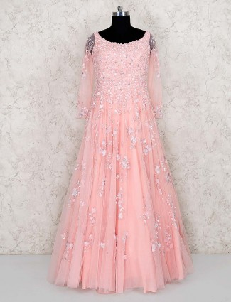 Pink classic net fabric floor length gown