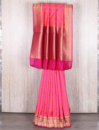 Pink classy bhagalpuri silk saree