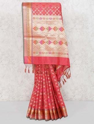 Pink color banarasi semi silk wedding saree