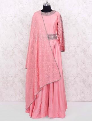 Pink color cotton silk designer anarkali salwar suit