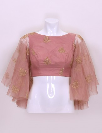 Pink color cotton silk designer ready made blouse