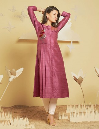 Pink color cotton silk fabric kurti for festive wear