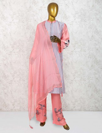 Pink color cotton silk festive punjabi salwar suit