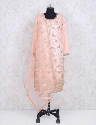 Pink color cotton silk sharara suit