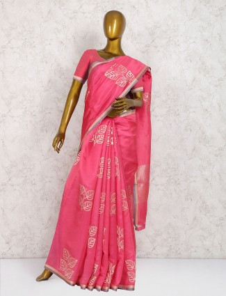 Pink color cotton silk wedding wear saree