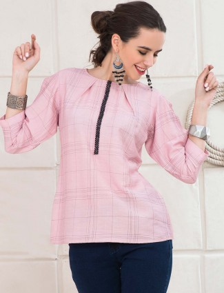 Pink color cotton top
