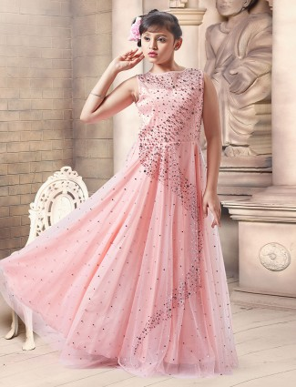 Pink color designer wedding gown