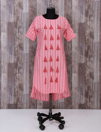 Pink color festive cotton palazzo suit