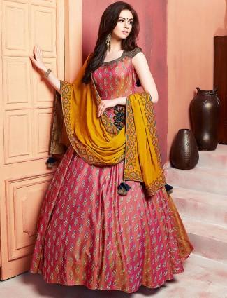 0228df158cc Pink color festive floor length anarkali salwar suit in raw silk
