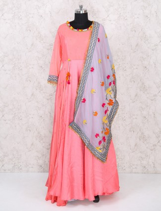 Pink color floor lenght anarkali suit