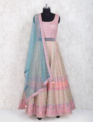 Pink color floor length anarkali suit in net fabric