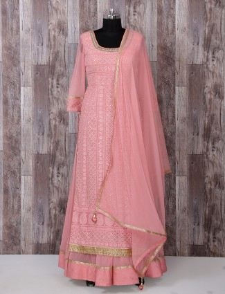 Pink color georgette anarkali suit for reception