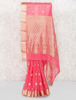 Pink color georgette festive saree