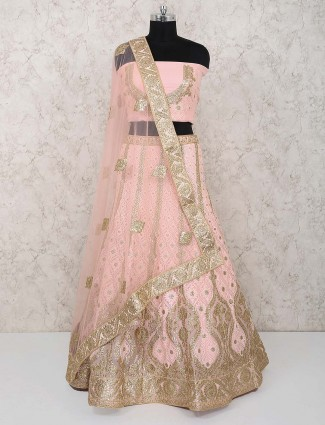 Pink color georgette wedding lehenga choli