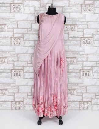 Pink color indo western silk party wear anarkali suit