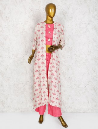 Pink color jacket style salwar suit in cotton
