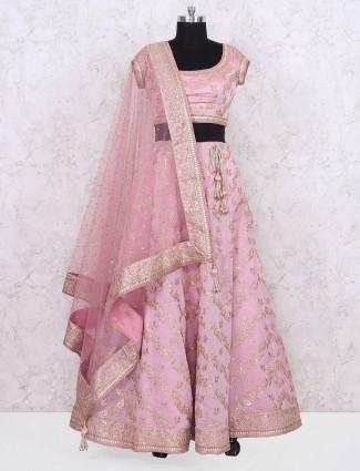 Pink color net fabric wedding lehenga choli