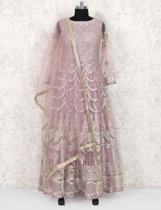 Pink color net floor length anarkali suit
