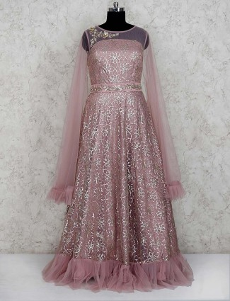 Pink color net frill style gown