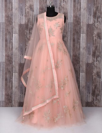 Pink color net wedding anarkali suit