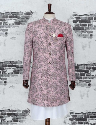 Pink color party wear indo western